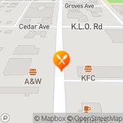 Map KFC Kelowna, Canada