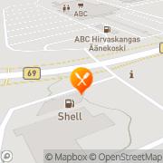 Kartta Shell HelmiSimpukka-ravintola Hirvaskangas Kangashäkki, Suomi