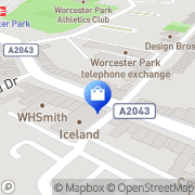 Map Clarks Shoes Worcester Park, United Kingdom