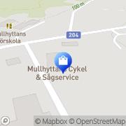 Karta Mullhyttans Cykel & Sågservice AB Mullhyttan, Sverige