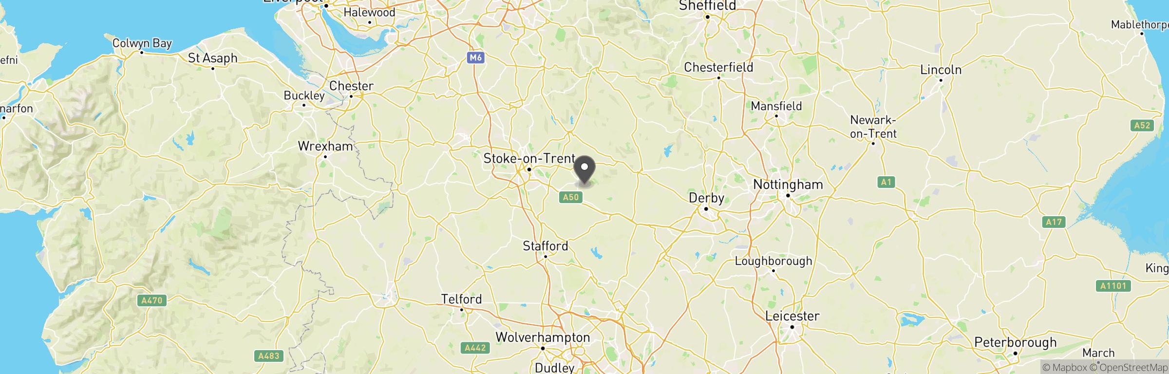 Location map of West Midlands F.O.B.