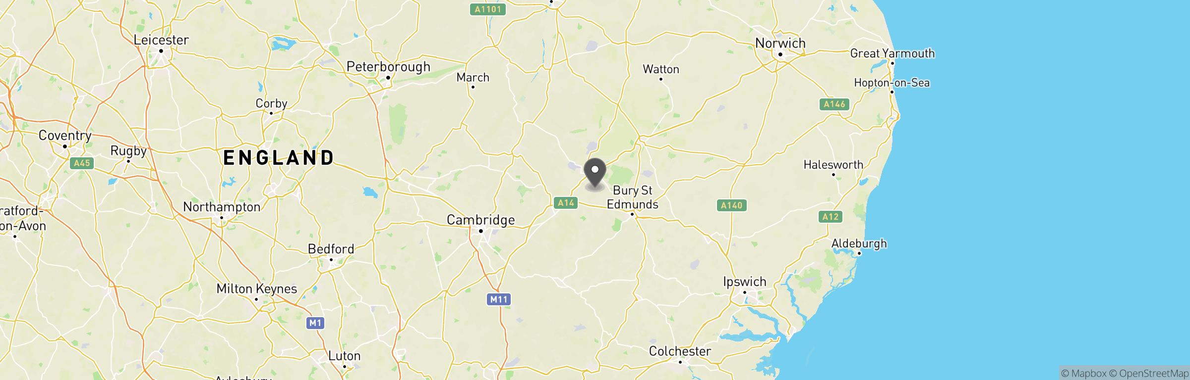 Location map of Gunman Tuddenham