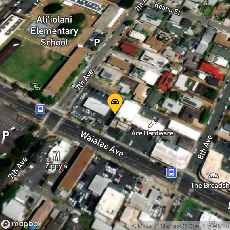 Satellite Map of the vehicle located at 3368 Waialae Ave