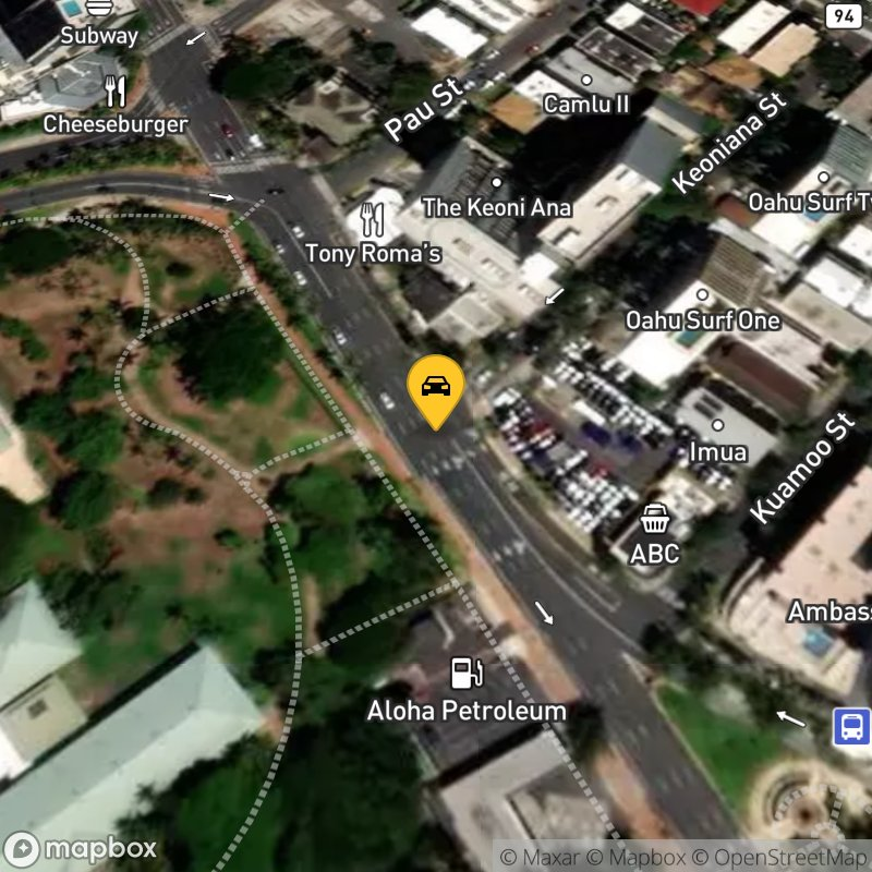 Satellite Map of the vehicle located at 1833 Kalakaua Ave