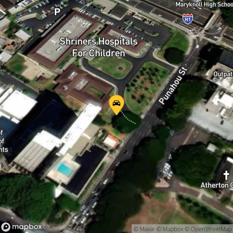 Satellite Map of the vehicle located at 1319 Punahou St