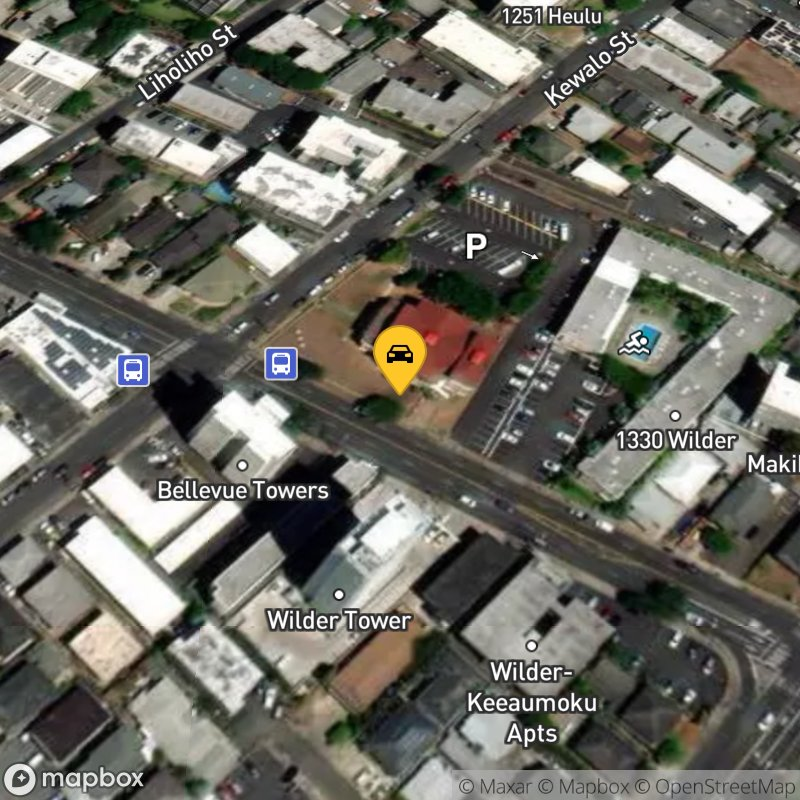Satellite Map of the vehicle located at 1611 Kewalo St
