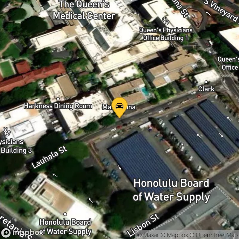 Satellite Map of the vehicle located at 1295 Lauhala St