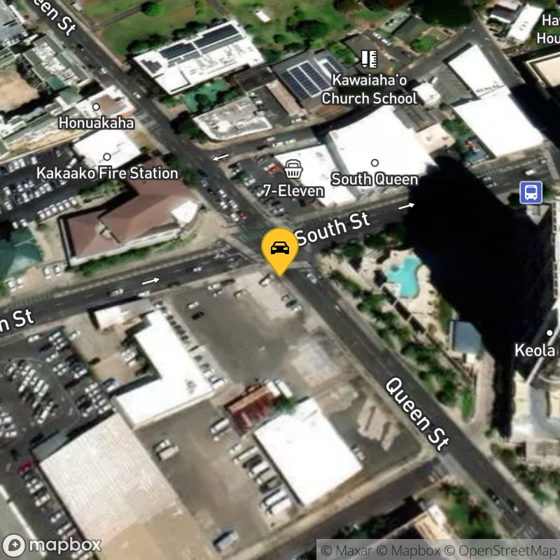 Satellite Map of the vehicle located at 601 Queen St