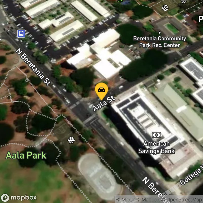 Satellite Map of the vehicle located at 1201 Aala St