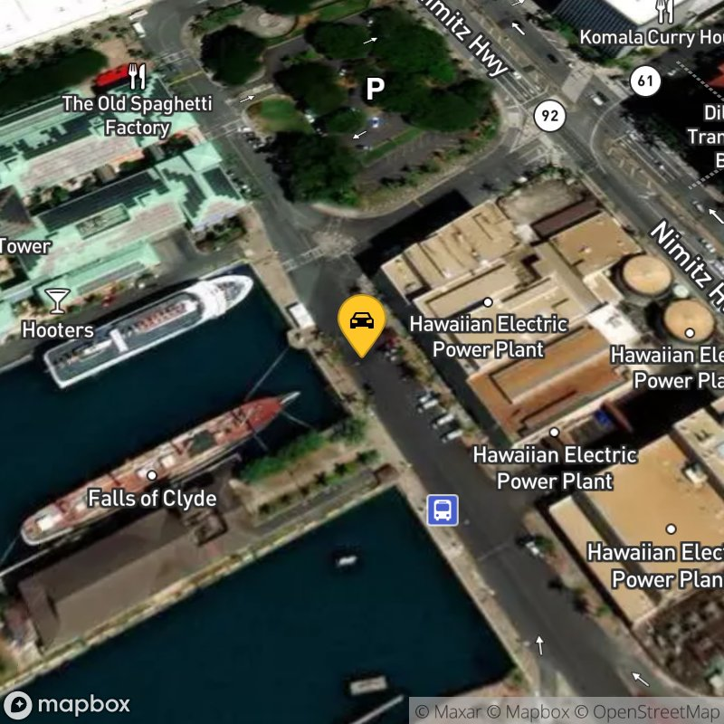 Satellite Map of the vehicle located at 101 Aloha Tower Dr
