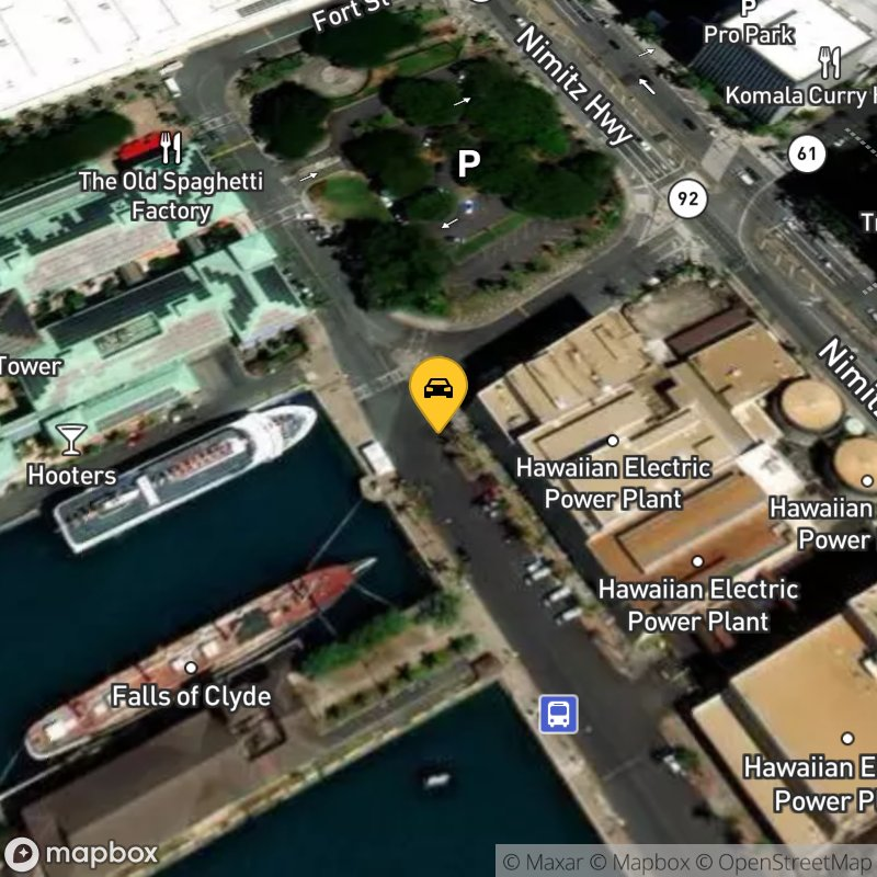Satellite Map of the vehicle located at 1 Aloha Tower Dr