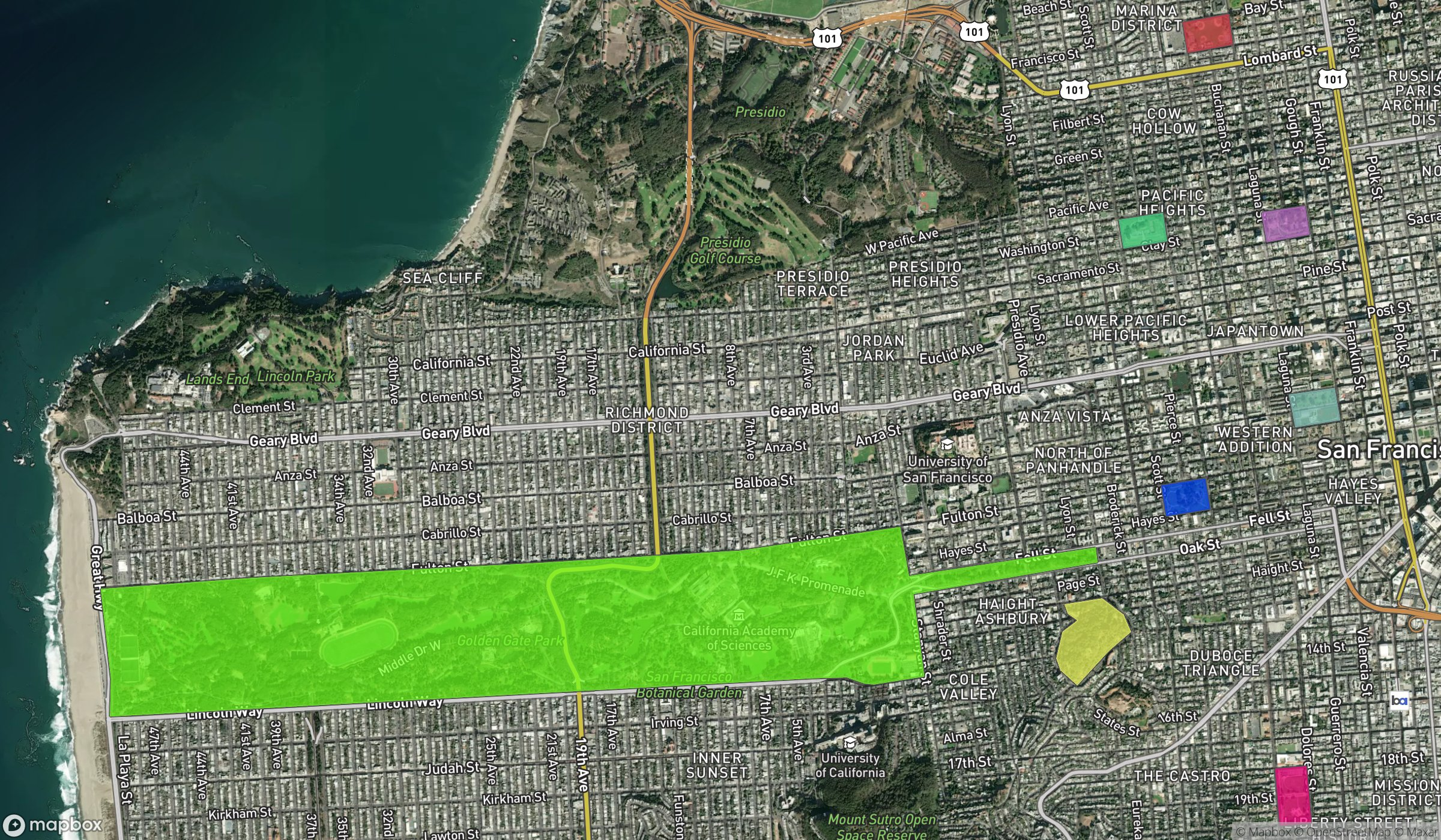 Mapbox Static API with overlays showing parks in San Francisco, CA