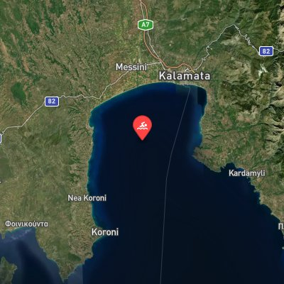 Messenian Gulf Swim route