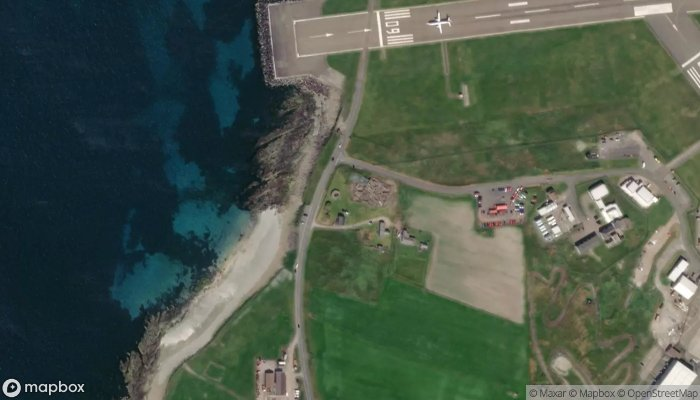Old Scatness Broch Iron Age Village satellite image