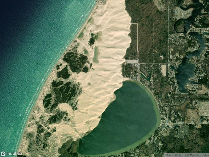 Satellite view of Silver Lake Sand Dunes