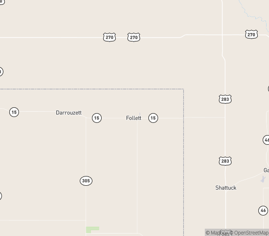 Map of Follett, TX