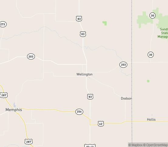 Map of Wellington, TX