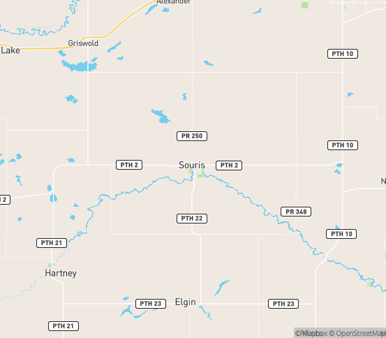 Map of Souris, MB