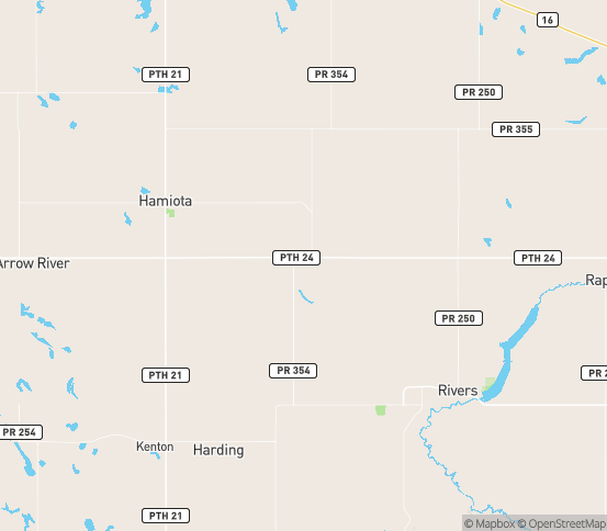 Map of Oak River, MB