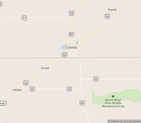 Map of Tyrone, OK