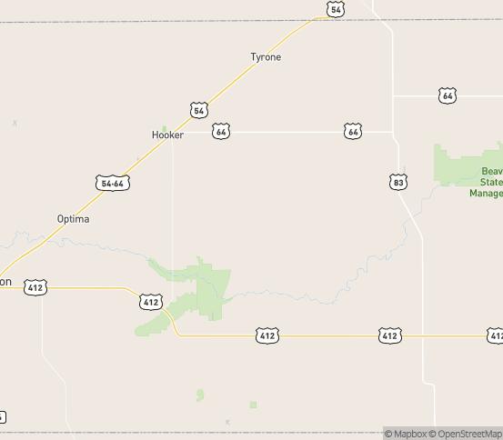 Map of Hooker, OK