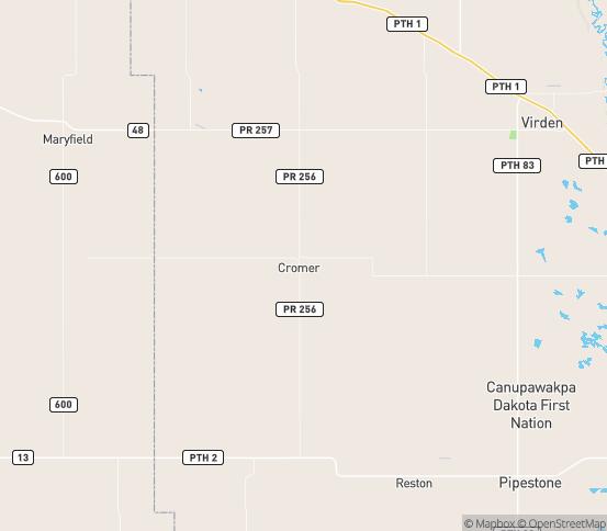 Map of Cromer, MB