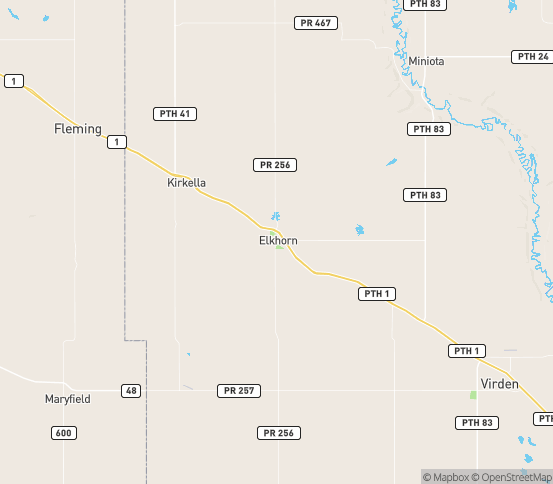 Map of Elkhorn, MB