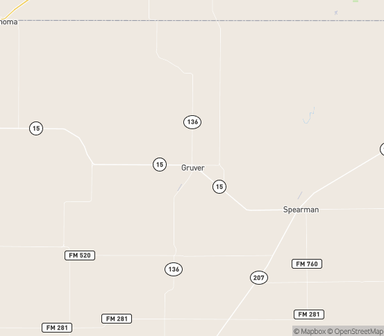 Map of Gruver, TX