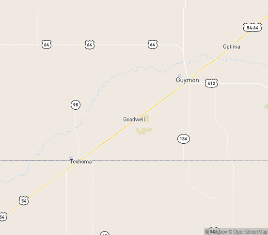 Map of Goodwell, OK