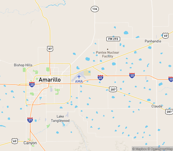 Map of Amarillo, TX