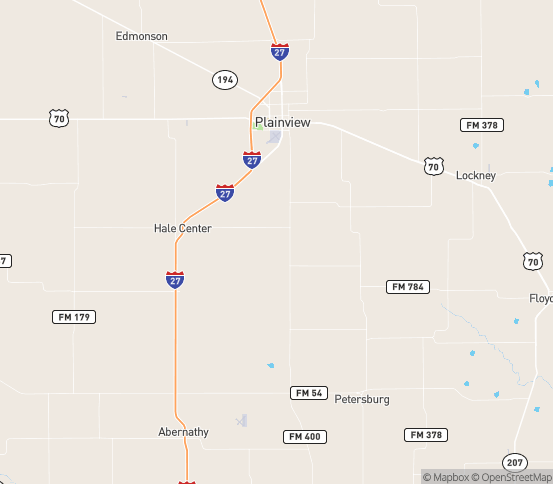 Map of Plainview, TX