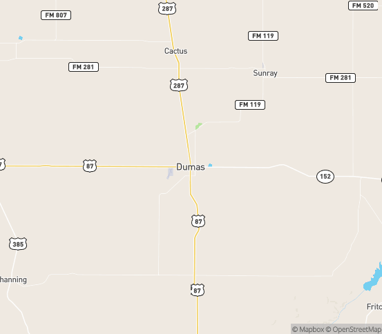 Map of Dumas, TX
