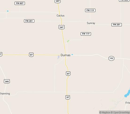 Map of Dumas, TX