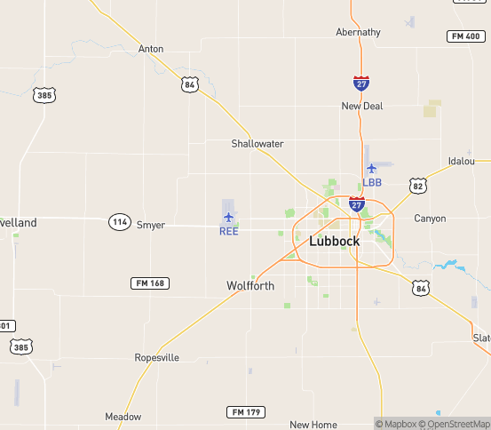 Map of Lubbock, TX