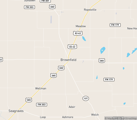 Map of Brownfield, TX