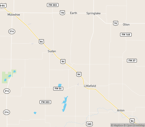 Map of Amherst, TX