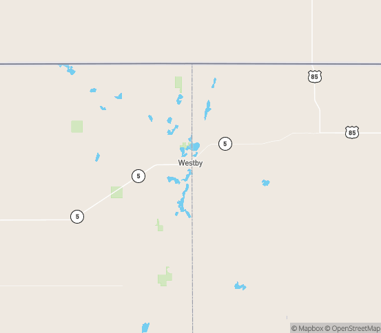 Map of Westby, MT