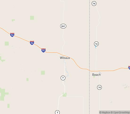 Map of Wibaux, MT