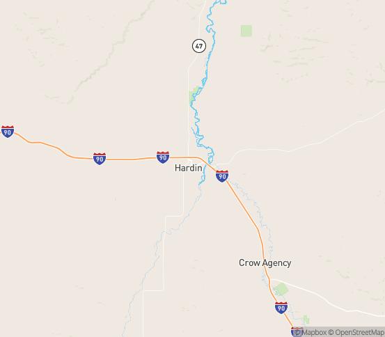 Map of Hardin, MT