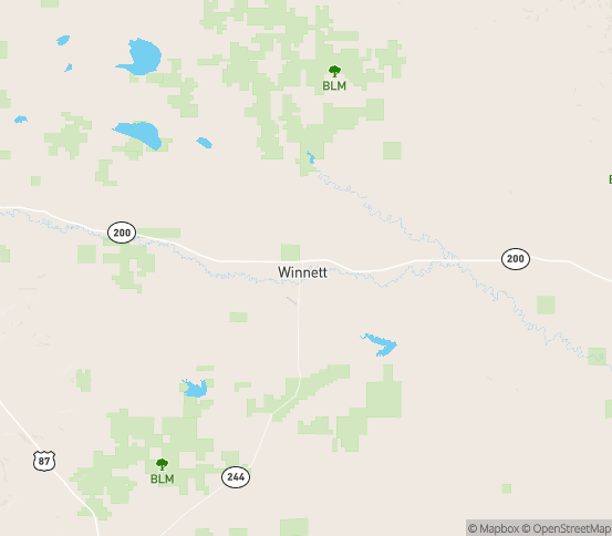 Map of Winnett, MT