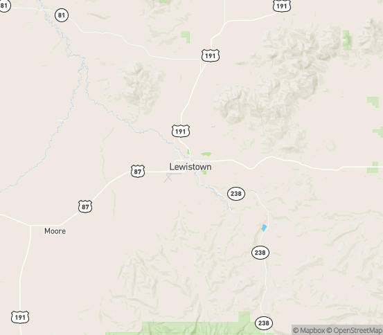 Map of Lewistown, MT