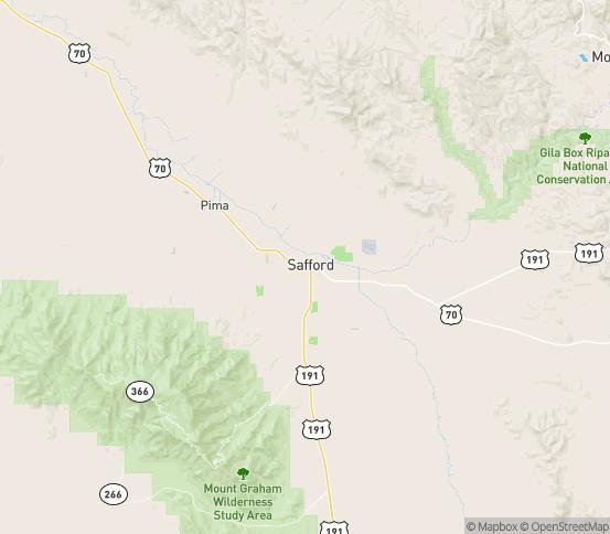 Map of Safford, AZ