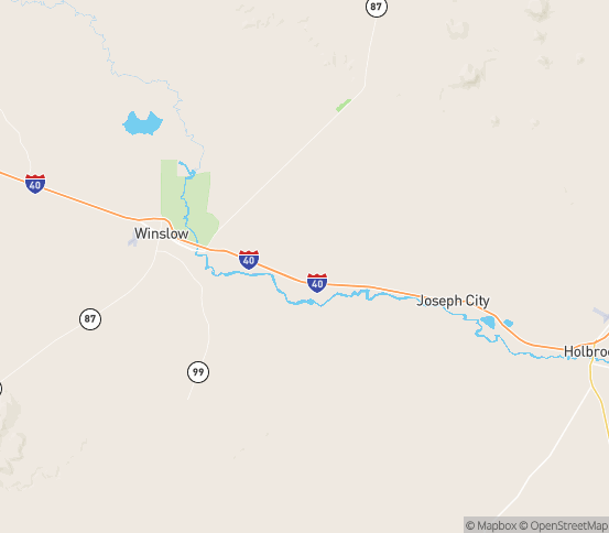 Map of Winslow, AZ