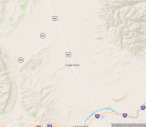Map of Clyde Park, MT