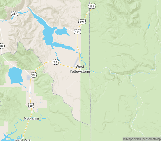 Map of West Yellowstone, MT