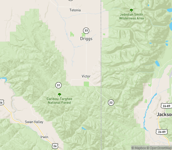 Map of Victor, ID