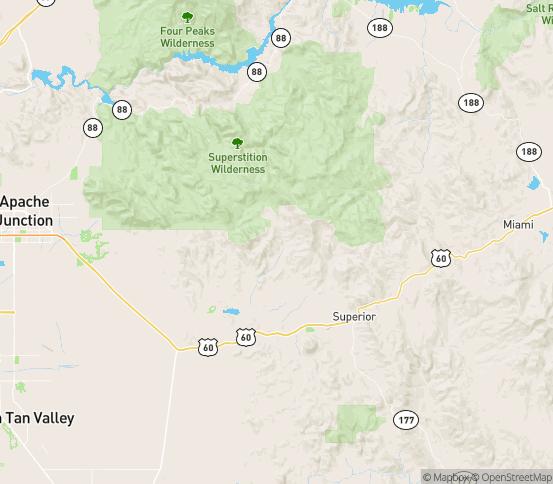 Map of Superior, AZ