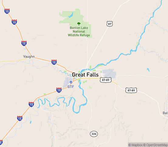 Map of Great Falls, MT