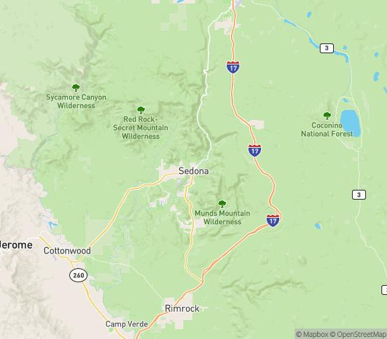 Map of Sedona, AZ