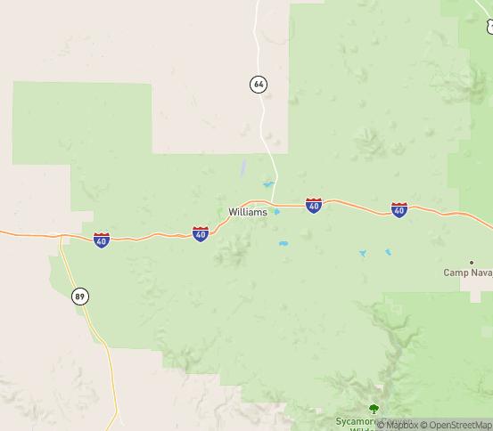 Map of Williams, AZ